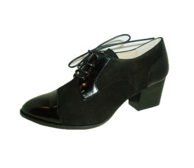 23795fe5600b Zapato mujer piel combinada negro cordones