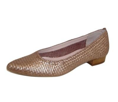 55e9219fd7e89 Zapato puntero mujer bronce trenzado - Zapatos planos - Mujer ...