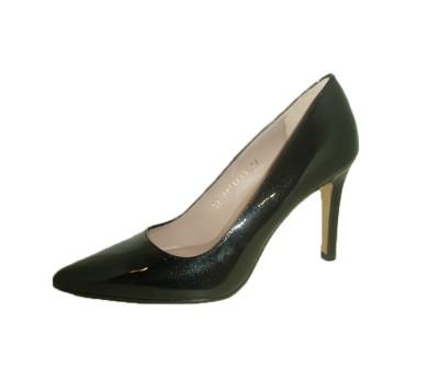 Zapato salón mujer piel miro negro tacón