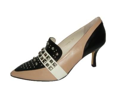 Zapato salón mujer combina piel glove blush/negro