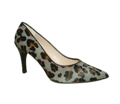 bajo precio 9c454 02d05 Zapato salón mujer piel potro print animal gris