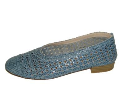 Zapato de salón trenzado a mano piso de suela azul