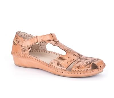 Zapato cuña mujer piel apricot T