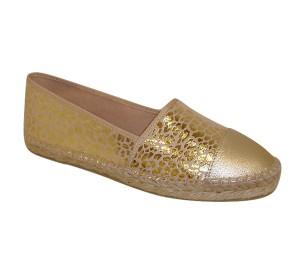Alpargata mujer metalizada/oro plana