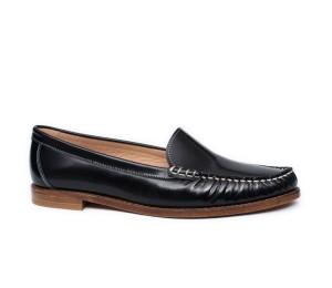 Zapato mujer piel flor negro plano