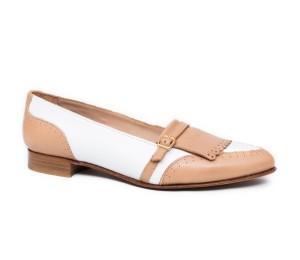 Zapato mujer piel combinada blanco seta camel plano flecos