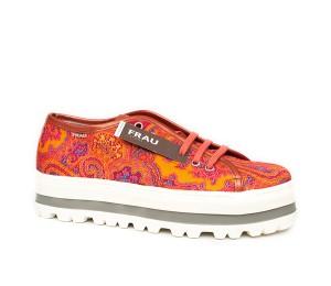 Zapato mujer textil orange piso bloque cordones
