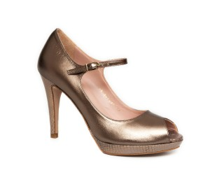 Zapato abierto piel laminado estaño tacón plataforma