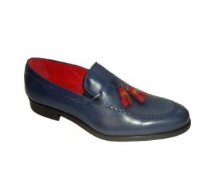 Zapato pala alta hombre piel lavatto indico borlas