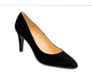Zapato salón piel ante negro