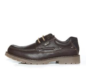 Zapato piel graso marrón cordón