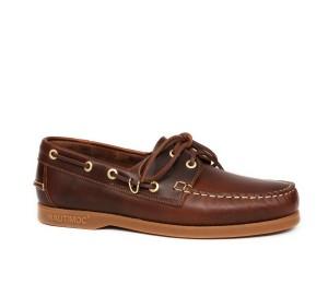 Zapato náutico hombre  piel marrón cordones