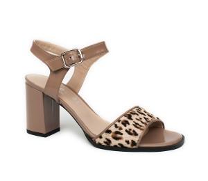 Sandalia mujer piel taupe/leopardo tacón