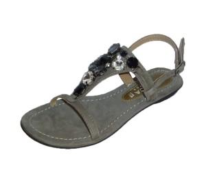 Sandalia mujer ante gris T plana