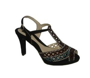 Sandalia piedras strass mujer ante negro