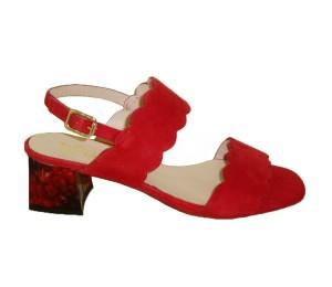 Sandalia mujer ante rojo tacón grueso