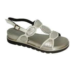 Sandalia mujer becerro blanco/plata
