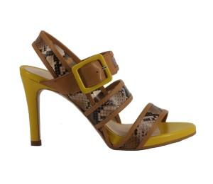 Sandalia mujer piel caledonia camel tacón fino