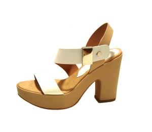 Sandalia mujer piel blanca tacón grueso