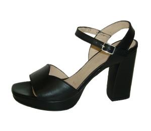 Sandalia mujer piel iseo negro tacón grueso plataforma