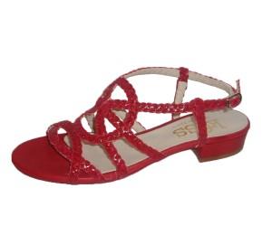Sandalia mujer piel trenzada rosso empeine redondo