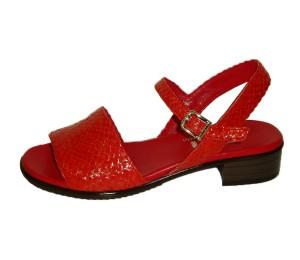 Sandalia mujer piel trenzada rojo ó coral con hebilla