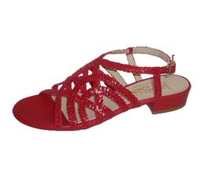 Sandalia mujer piel rosso trenzado