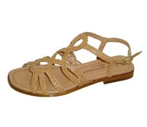 Sandalia mujer plana trenzado marfil