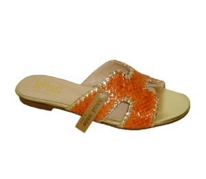 Sandalia mujer trenzada naranja plana