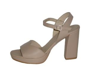 Sandalia de tacón y plataforma piel color nude