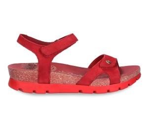 Sandalia velcro piel rojo