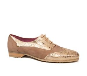 Zapato mujer dos pieles taupe oro cordones