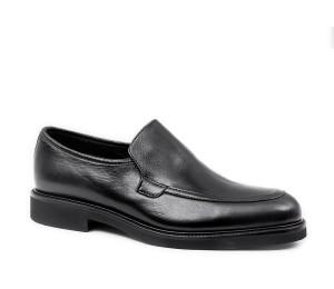 Zapato abotinado con elastico interior piel negro membrana tex