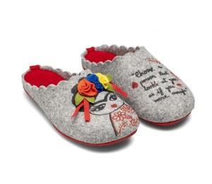 Zapatillas casa fieltro slippers Frida gris