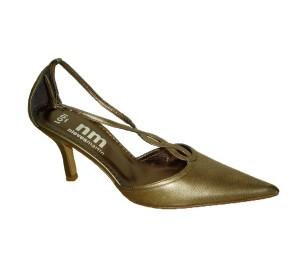 Zapato abierto de lados con puntera y tacón fino en piel bronce