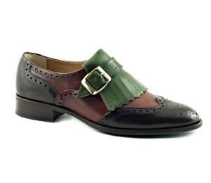 Zapato abotinado con hebilla en piel tres tonos tacon bajo/plano
