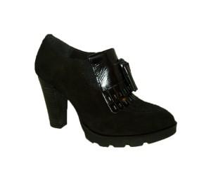 Zapato abotinado mujer afelpado negro tacon plataforma