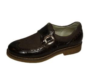 Zapato abotinado mujer 2pieles niger hebilla