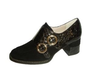Zapato abotinado mujer ante/dandy negro