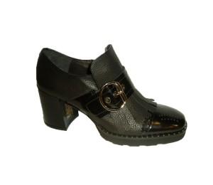 Zapato abotinado mujer combina dos pieles negro tacón