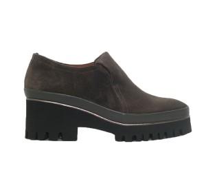 Zapato abotinado mujer piel velour antracita