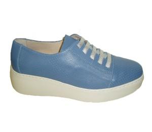 Zapato mujer piel sauvag bluet cordón elástico