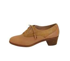 Zapato abotinado mujer piel camel