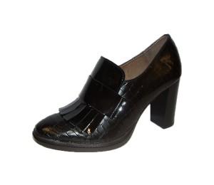 Zapato abotinado mujer combina piel negro tacón