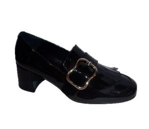 Zapato abotinado mujer piel espejo plomo