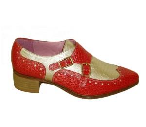 Zapato abotinado mujer combina piel grabada rojo/platino con 2 hebillas