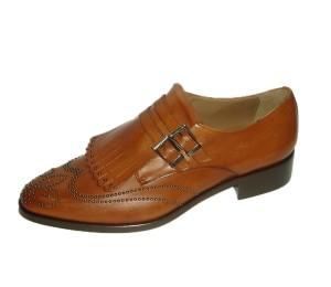 Zapato abotinado mujer piel terra flecos y hebillas