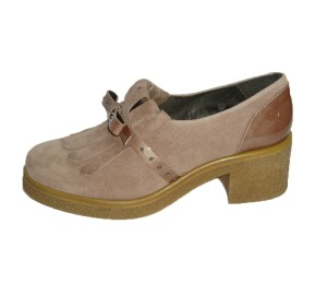 Zapato mujer combina 2 pieles camezia flecos lazo