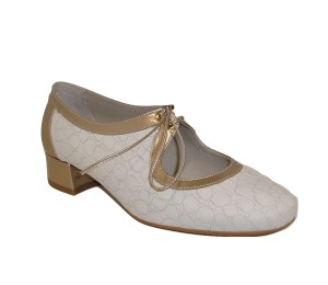 Zapato angelito mujer piel hueso/dorado