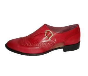 Zapato abotinado combina piel lavatto rojo